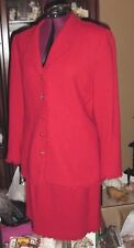 52576982608ec Neiman Marcus Noviello Bloom Women Jacket Blazer   Skirt Suit Red Sz 14  Ruffle