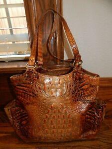 Large Brown Croc Leather Vintage BRHAMIN Shoulder Bag!