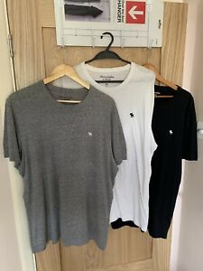 Abercrombie & Fitch XXL 3 Pack Tees/T-Shirts Grey,White,Black