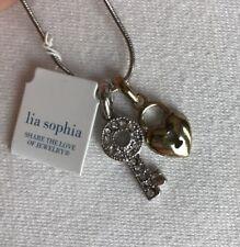 "Lia Sophia Secrets Necklace 16-19"" Gold Silver Tone Heart Key Cz Charm NWT"