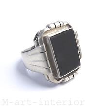 Art Déco Onyx 800 Silber Silver Ring 30er Jahre Fachschule IDAR-OBERSTEIN 1930´s