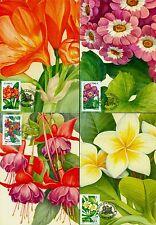2000 Fuchsia,Plumeria,Bush lily,Senecio,Flowers,Plants,Romania,M.5478,maxi cards