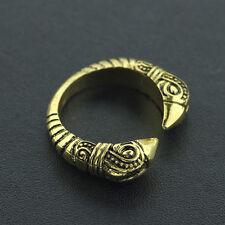 Viking  reenactment  Raven Gold Adjustable Torc finger Ring