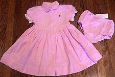 POLO RALPH LAUREN ORIGINAL BABY GIRLS 2Pc BRAND NEW PINK DRESS SET Size 12M, NWT