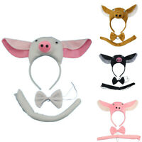KQ_ Cute Headband Performance Prop Pig Ears Bow Tail Kids Children's Day Hair Ho