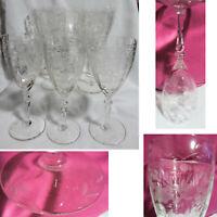 "Set of 8 Etched Flowers Leaves Crystal 6oz / 7oz Wine Glasses Optic Panel 7 3/4"""