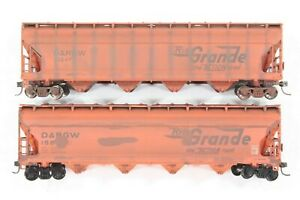 HO Two Athearn Rio Grande 54ft ACF Centerflow Covered Hopper, dif #s Weathered