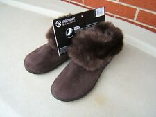 ISOTONER BOOTIE SLIPPERS FAUX FUR TOP SIZE 9.5 10  BROWN MEMORY FOAM NEW