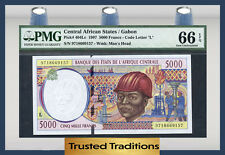 TT PK 404Lc 1997 CENTRAL AFRICAN STATES 5000 FRANCS PMG 66 EPQ POP ONE
