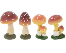 Colourful Resin Mushroom Outdoor Ornament Toadstool Decoration Decor Set of 4 Assorted
