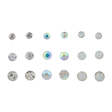 Circle Stone Multiple Earring Set 9Pc Lux Accessories Crystal Ab White Opal