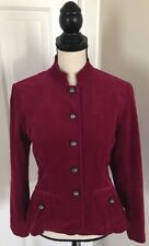 COLDWATER CREEK Women's Red Corduroy Military Jacket Size 4 Cotton Blend EUC