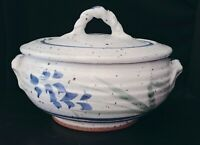 Beautiful Artisan Pottery Tureen Casserole Dish With Lid Handles Signed Frasier
