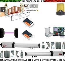 CANCELLO ELETTRICO 6 MT 2 ANTE KIT CED 2 MOTORI 220 V. 2 RADIOC FOTOC FARO SELET