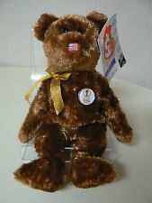Ty Beanie Baby CHAMPION Plush USA Brown American Flag FIFA World Cup Bear 2002