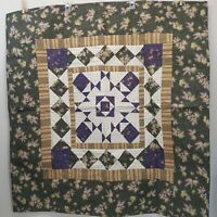Handmade Throw Quilt Wall Hanging Green Purple Beige Home Decor Quilted Leaves