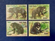 Vietnam Mint Bears Wild Animals 2012 Complete Set Set Of 4 VN #1018 SPECIMEN MNH