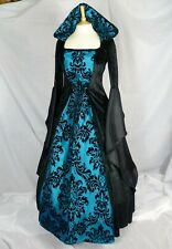 Medieval Hooded Dress Renaissance Black and Turquoise CUSTOM MADE TO SIZE