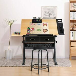 Adjustable Drafting Table Art Craft Drawing Desk wIth Stool for Artists/Students