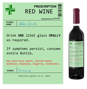 Personalised Prescription Wine Bottle Label - Red White Rose - Gift Idea Novelty