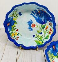 New Pioneer Woman Melamine Delaney Cobalt Floral Dinner Bowls Set of 2