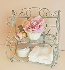 Shabby Chic French Vintage Grey Shelf Unit Storage Display Bathroom Cabinet Rack