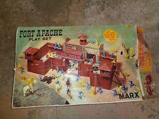 Marx FORT APACHE ~BOX~INDIANS~FRONTIERSMEN~ TIN BLDG &Plastic FORT