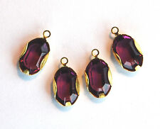 VINTAGE FLAT FACETED GLASS OVAL PENDANT BEADS AMETHYST • 12x8mm • BRASS SETTING