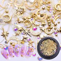 3D Gold Moon Star Rhinestone Metal Nail Studs Nail Art Decor Manicure DIY Tips