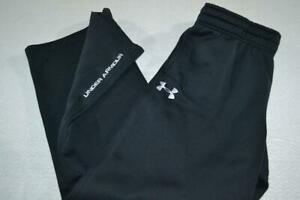 21368-a Mens Under Armour Gym Pants Polyester Size Large Black