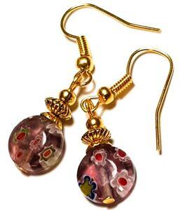 Short Gold Purple Millefiori Earrings Glass Bead Drop Dangle Pierced Hook