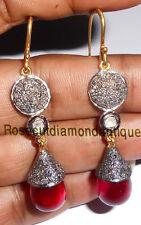 ARTDECO LATEST ANTIQUE ROSE CUT DIAMOND 1.32ct SILVER RUBY POLKI DANGLE EARRINGS