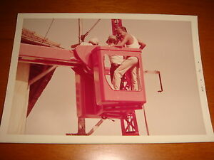 Singapore 1973 Color Photograph, View of Workmen checking a lamp post, Used