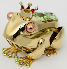 Frosch mit Krone Figur König Prinz goldfarben Dekoration mit Swarovski Kristalle