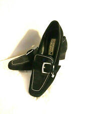 Vintage Brighton Glenda Women's Black Suede/Croc-Print Leather Loafer 6 M