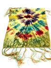 vtg Sml Starburst Tie Die Raindbow Velvet Rug Carpet runner NICE