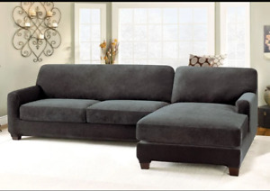 Stretch Piqué Five Piece Sectional Slipcover Right Chaise Jet black washable NEW