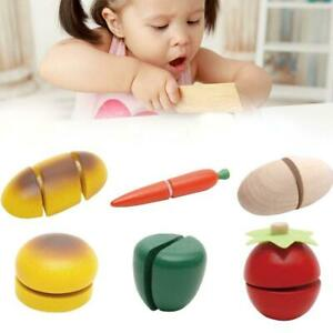Child Pretend Role Play Kitchen Fruits Vegetables Food Toy Wooden Cutting Set VJ