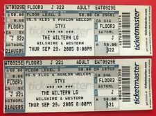(2) 2005 STYX Full Concert TICKETS Wiltern Los Angelels Lady Come Sail Away ROCK