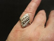 Timeless Vintage 14K White Gold Marquise style ring with Diamond Accents, Size 6