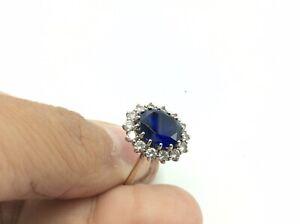 Fantastic Antique Vintage 9ct Gold On 925 Silver Blue Sapphire Princess Ring