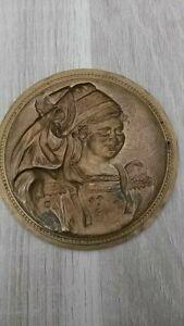fer à dorer laiton bronze matrice visage femme empreinte moule lot 33