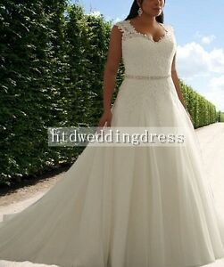Custom V-neck Plus Lace Bridal Gown Wedding Dress Size 14-16-18-20-22-24++