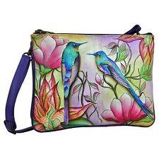 "Anuschka Leather Hand Painted ""Spring Passion"" Design Handbag Cross Body Bag NWT"