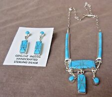 & Earrings Set by J Luna Jn0153 Native Zuni Sterling Silver & Turquoise Necklace
