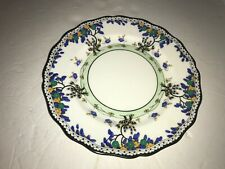 Rare Royal Doulton Salad Plate # 702852 Blue Yellow Green Leaves Black Trim