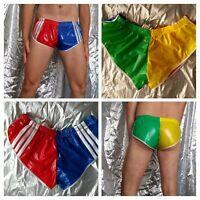 Harlequin hi-cut sprinter shorts in PU-coated nylon taffeta with white trim (M)