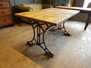 Vintage rustic industrial 4ft x 3ft  metal Queensboro dining table