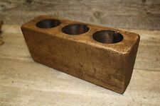 3 Hole Wooden Sugar Mold Wood Candle Holder Primitive