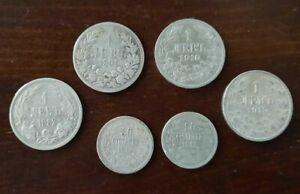 Bulgaria coins  50 stotinki + 1 leva 1882 - 1891 - 1910 - 1912 - 1913,  6 pcs.